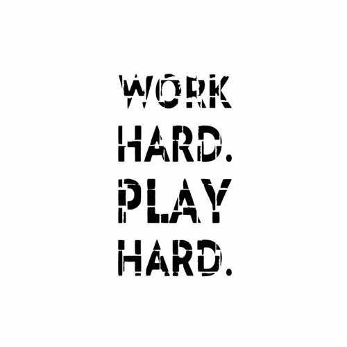 Work Hard Play Hard  Vinyl Decal Sticker  Size option will determine the size from the longest side Industry standard high performance calendared vinyl film Cut from Oracle 651 2.5 mil Outdoor durability is 7 years Glossy surface finish