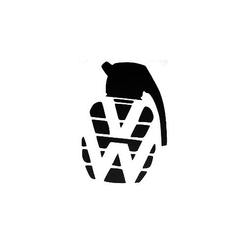 Vw Grenade Vinyl Decal Sticker  Size option will determine the size from the longest side Industry standard high performance calendared vinyl film Cut from Oracle 651 2.5 mil Outdoor durability is 7 years Glossy surface finish