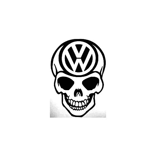 Vw Skull Vinyl Decal Sticker  Size option will determine the size from the longest side Industry standard high performance calendared vinyl film Cut from Oracle 651 2.5 mil Outdoor durability is 7 years Glossy surface finish