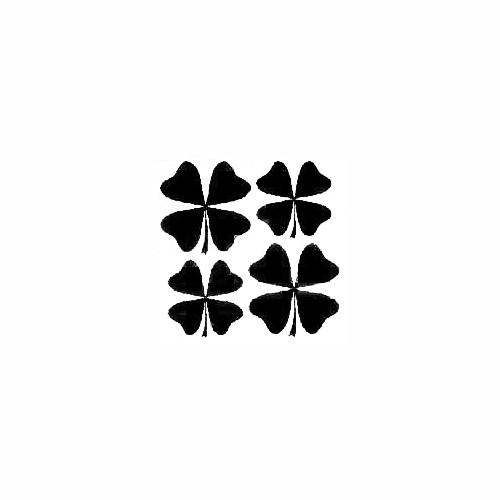 Four Leaf Clover Set of 4 - 2 - 3'' + 2 - 2 1/2'' Decal (02) Size option will determine the size from the longest side Industry standard high performance calendared vinyl film Cut from Oracle 651 2.5 mil Outdoor durability is 7 years Glossy surface finish