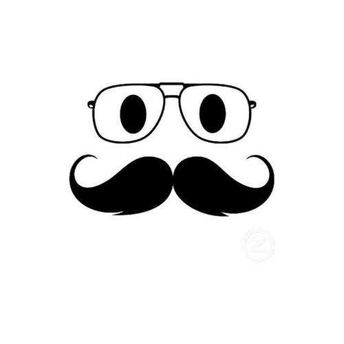 Mustache Face 69 Vinyl Sticker