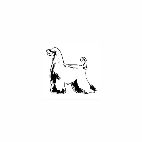 Afghan Hound Standing Decal Size option will determine the size from the longest side Industry standard high performance calendared vinyl film Cut from Oracle 651 2.5 mil Outdoor durability is 7 years Glossy surface finish