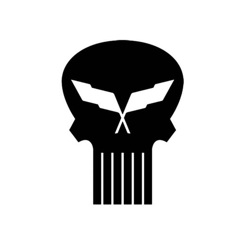 Skulls s Corvette Racing Flag Skull Style 2 Vinyl Sticker