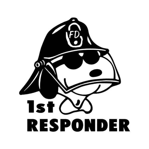 1st Responder Firefighter Snoopy Vinyl Sticker