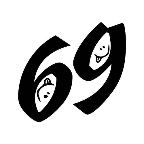 69 Smiling Face Sex Funny Vinyl Sticker