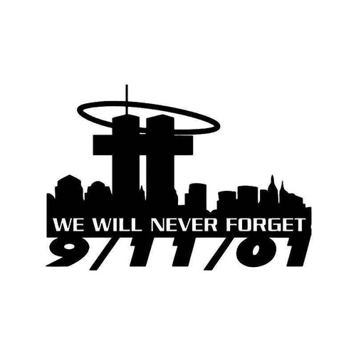 911 Twin Towers Never Forget Vinyl Sticker