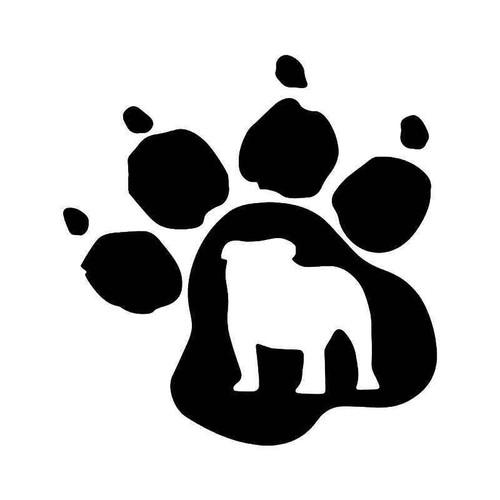 Bulldog Paw Print Pet Vinyl Sticker