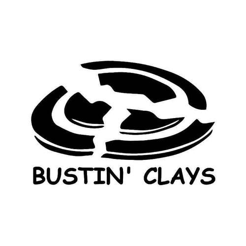 Busting Clay Shooting Shotgun Vinyl Sticker