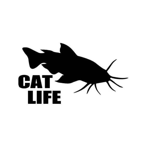 Cat Life Catfish Fishing Vinyl Sticker