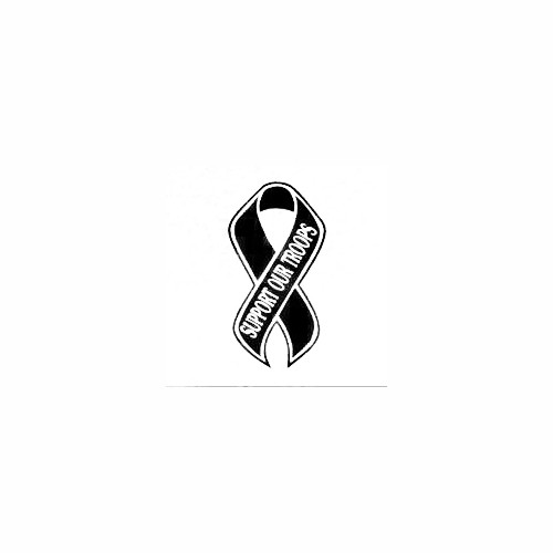 Support Our Troops Awareness Ribbon Decal Size option will determine the size from the longest side Industry standard high performance calendared vinyl film Cut from Oracle 651 2.5 mil Outdoor durability is 7 years Glossy surface finish