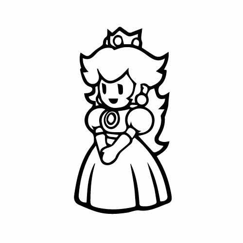 Super Mario Princess Peach Vinyl Decal Sticker  Size option will determine the size from the longest side Industry standard high performance calendared vinyl film Cut from Oracle 651 2.5 mil Outdoor durability is 7 years Glossy surface finish