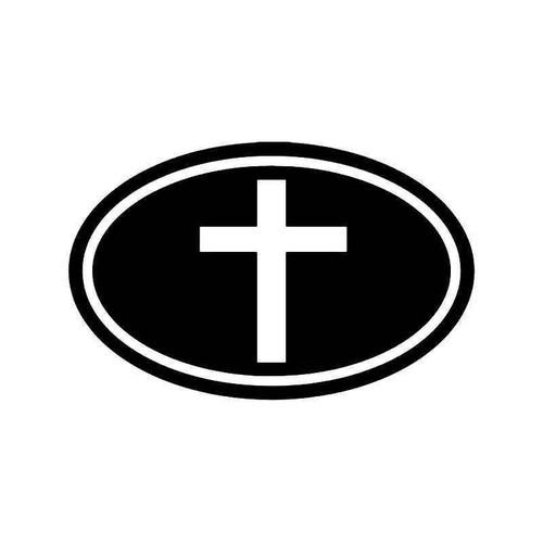 Christian Cross Oval Vinyl Sticker