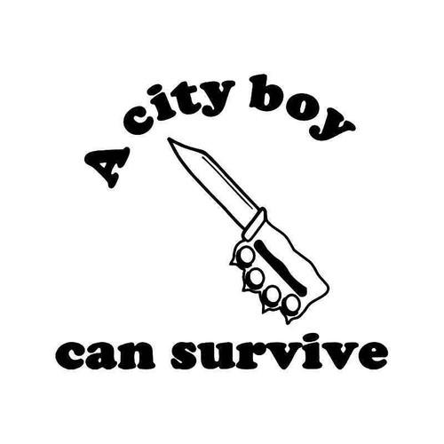 City Boy Survive Knife Brass Knuckles Vinyl Sticker