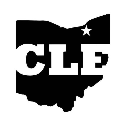 Cle Cleveland Ohio State Map Vinyl Sticker
