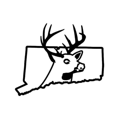 Connecti State Deer Buck Hunting Vinyl Sticker