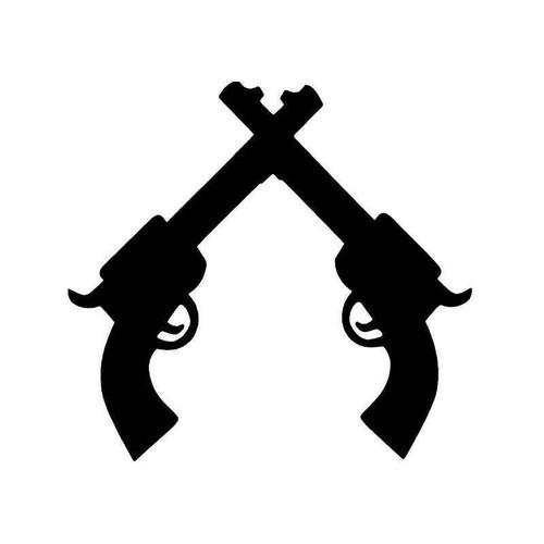 Crossed Pistols Guns Vinyl Sticker