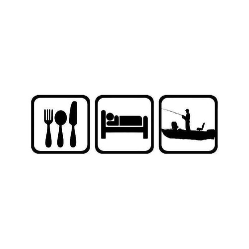 Eat Sleep Boat Fishing Fish 1 Vinyl Sticker