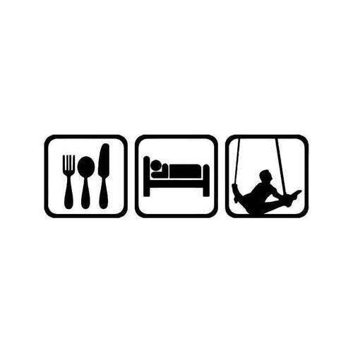Eat Sleep Gymnastic Men Rings Vinyl Sticker
