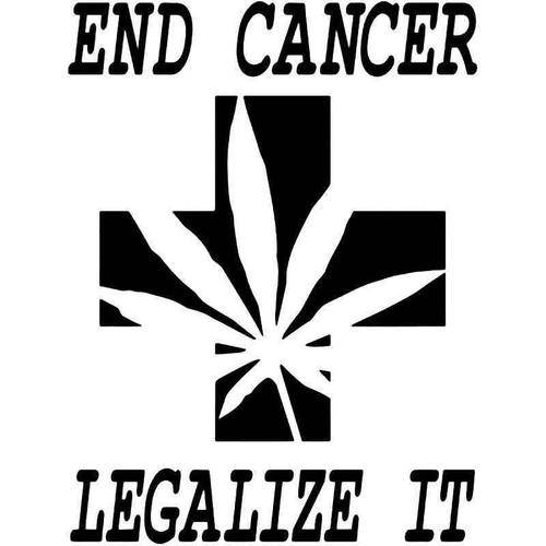End Cancer Weed Marijuana Vinyl Sticker