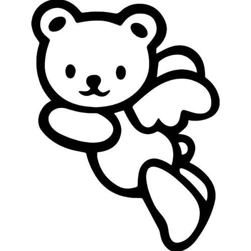 E Teddy Bear Angel Vinyl Sticker