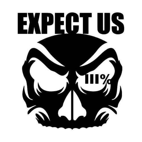 Expect Us 3 Percenters Skull Vinyl Sticker