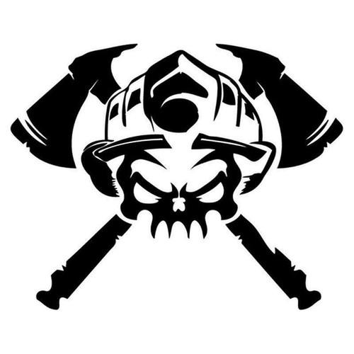 Fire Fighter Skull 168 Vinyl Sticker
