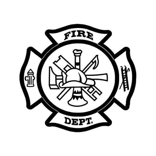 Fireman Firefighter Maltese Symbol Vinyl Sticker