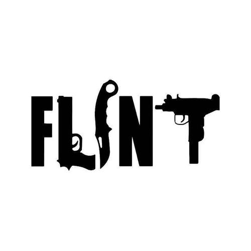 Flint Michigan Gun Knife Vinyl Sticker