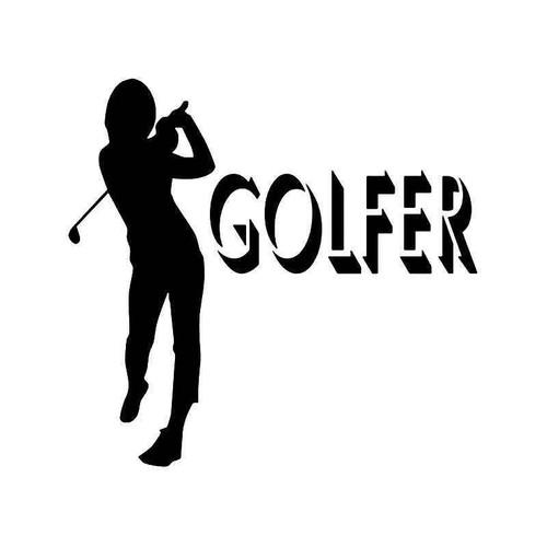 Golfer Women Vinyl Sticker