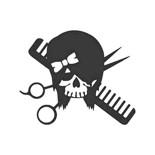 Hair Stylist Barber Death Skull Vinyl Sticker