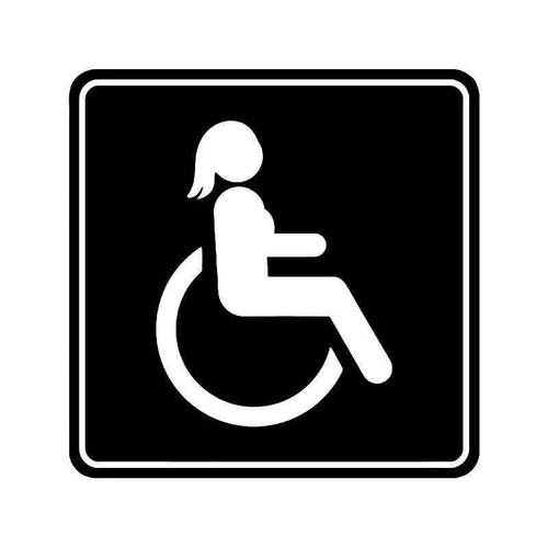 Handicap Wheelchair Sign Women Vinyl Sticker