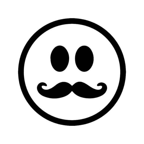 Handlebar Mustache Smiley Vinyl Sticker