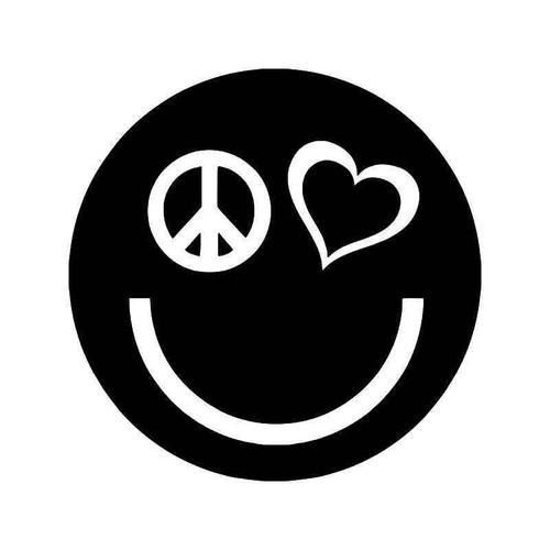 Happy Smiley Love Peace Vinyl Sticker