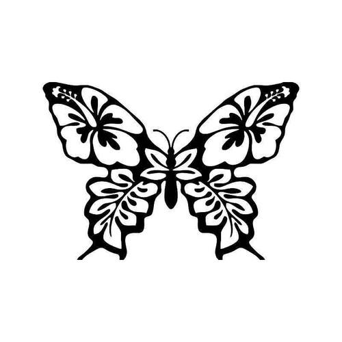 Hawaii Butterfly Hibiscus Vinyl Sticker