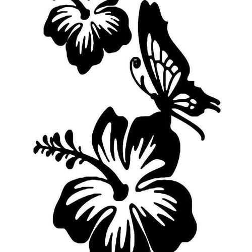 Hawaii Hibiscus Butterfly Vinyl Sticker