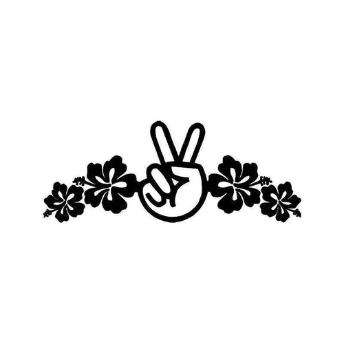 Hawaii Hibiscus Peace Vinyl Sticker