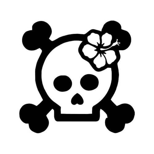 Hawaii Hibiscus Skull Vinyl Sticker