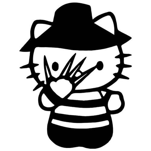 Hello Kitty Freddy Krueger Nightmare Elm Street Vinyl Sticker