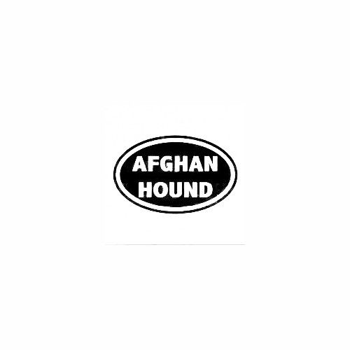 Afghan Hound Oval Decal Size option will determine the size from the longest side Industry standard high performance calendared vinyl film Cut from Oracle 651 2.5 mil Outdoor durability is 7 years Glossy surface finish