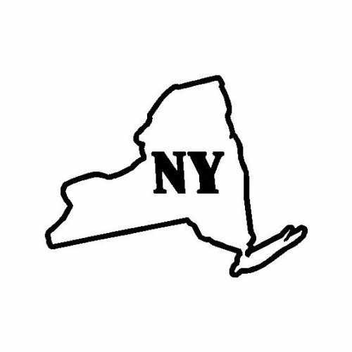 States New York  Vinyl Decal Sticker  Size option will determine the size from the longest side Industry standard high performance calendared vinyl film Cut from Oracle 651 2.5 mil Outdoor durability is 7 years Glossy surface finish