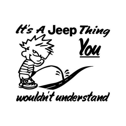 Jeep Thing Piss Pee Road Funny Vinyl Sticker