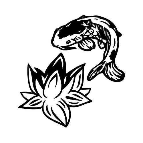 Koi Fish Lotus Flower Vinyl Sticker