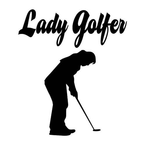 Lady Golfer Vinyl Sticker