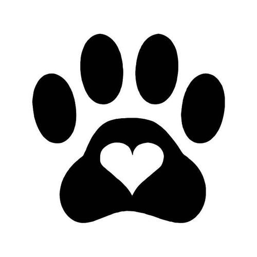 Love Dog Paw Print Vinyl Sticker