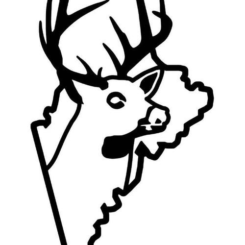 Maine State Deer Buck Hunting Vinyl Sticker