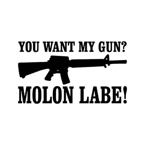 Molon Labe Gun Vinyl Sticker