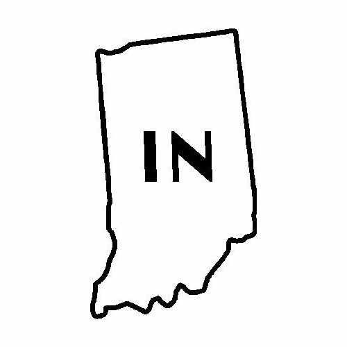 States Indiana  Vinyl Decal Sticker  Size option will determine the size from the longest side Industry standard high performance calendared vinyl film Cut from Oracle 651 2.5 mil Outdoor durability is 7 years Glossy surface finish