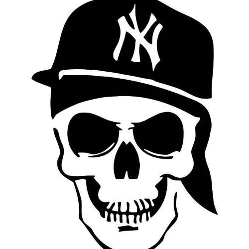 New York Baseball Fan Death Skull Vinyl Sticker