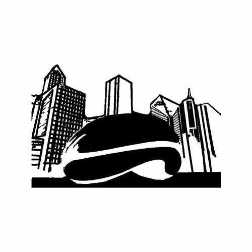 States Chicago Peanut  Vinyl Decal Sticker  Size option will determine the size from the longest side Industry standard high performance calendared vinyl film Cut from Oracle 651 2.5 mil Outdoor durability is 7 years Glossy surface finish