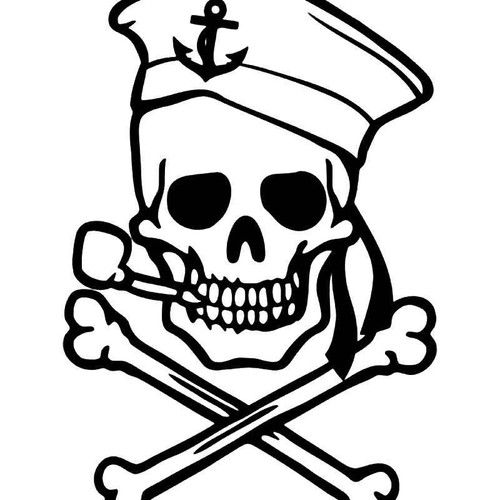 Pirate Sailor Skull Crossbones 2 Vinyl Sticker
